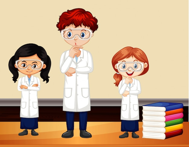 Drie wetenschappers staan in de kamer Gratis Vector