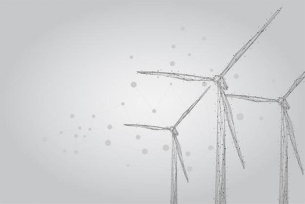 Drie windmolens bestaande uit punten, lijnen en vormen. windturbines veld. hernieuwbare alternatieve bronnen van elektrische energie Premium Vector