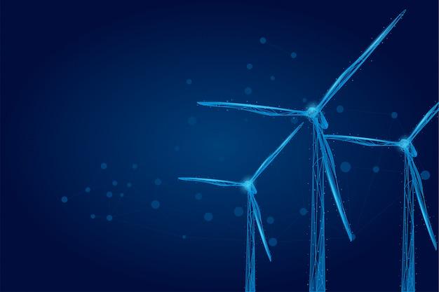 Drie windmolens bestaande uit punten, lijnen en vormen. Premium Vector