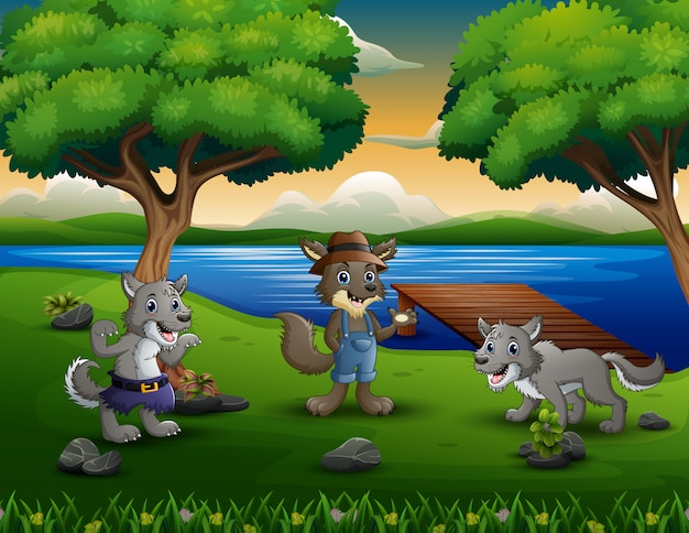 Drie wolven in de rivier Premium Vector