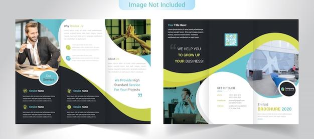 Driebladige bedrijfsbrochure Premium Vector