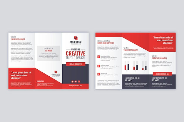 Driebladige brochure sjabloon concept Gratis Vector