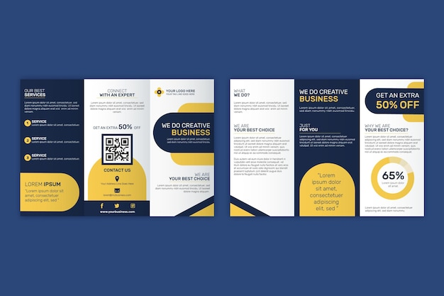 Driebladige brochure sjabloon thema Gratis Vector
