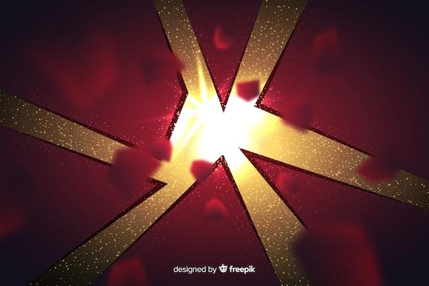 Driedimensionale explosie met lichte achtergrond Gratis Vector