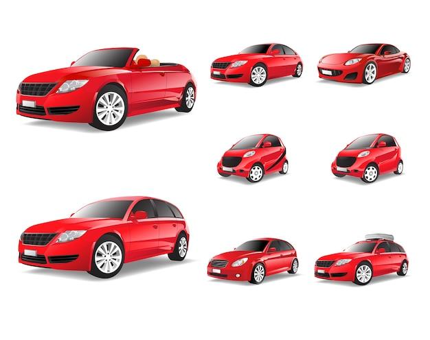 Driedimensioneel beeld van rode auto dat op witte achtergrond wordt geïsoleerd Gratis Vector