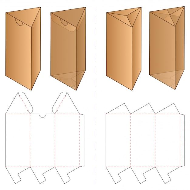 Driehoek doos verpakking gestanst sjabloonontwerp. Premium Vector