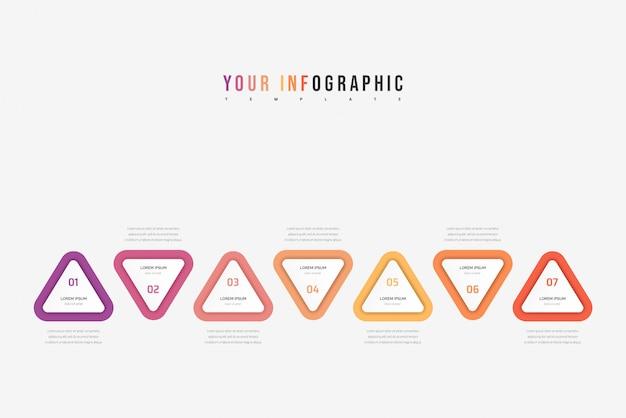 Driehoek element infographic. bedrijfsconcept met 7 opties, onderdelen, stappen of processen. Premium Vector