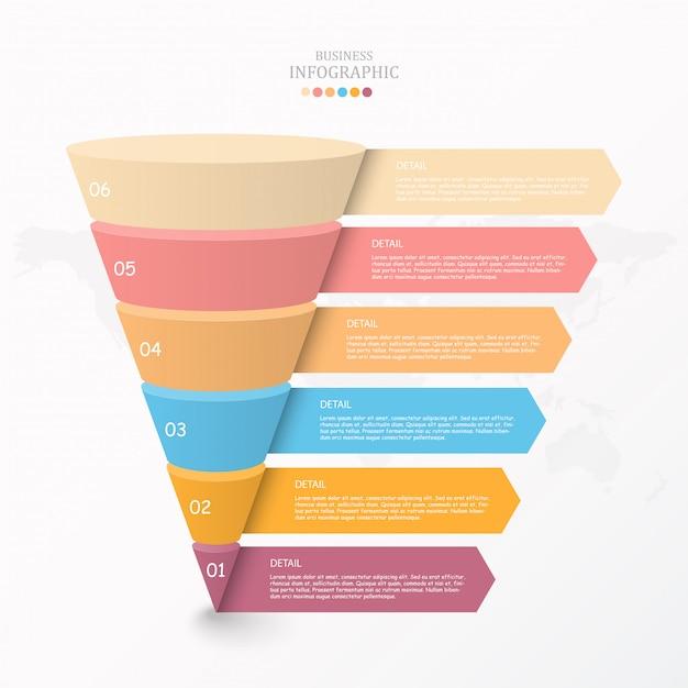 Driehoek grafiek infographic sjabloon Premium Vector