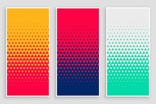 Driehoek halftoonpatroon in verschillende kleuren Gratis Vector