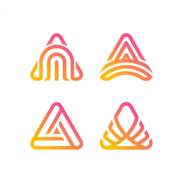 Driehoek logo collectie Premium Vector