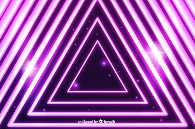 Driehoek neon podium lichte achtergrond Gratis Vector