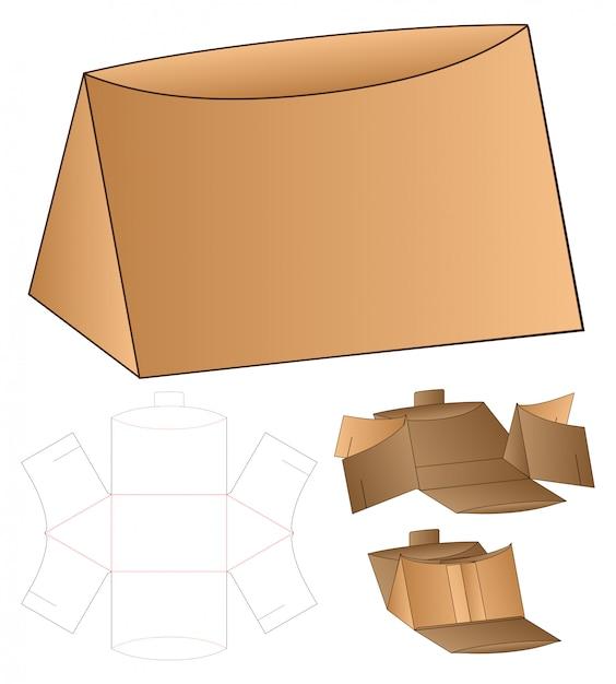 Driehoek verpakking gestanst sjabloonontwerp. 3d-model Premium Vector