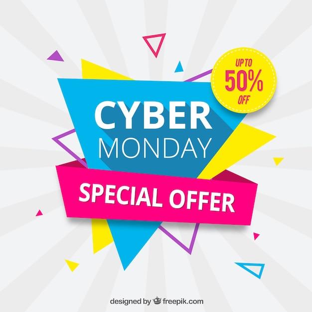 Driehoekig cyber maandag design in platte stijl Gratis Vector
