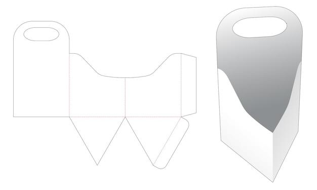 Driehoekige bak met gebogen rand en gestanste sjabloon met handvat Premium Vector
