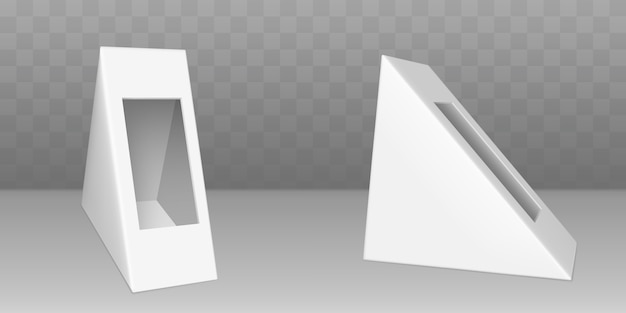 Driehoekige kartonnen verpakking voor sandwich Gratis Vector