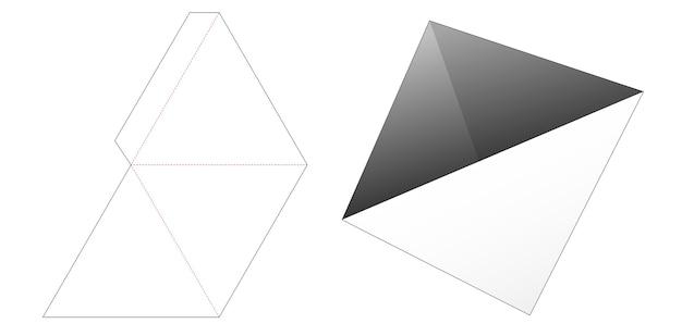 Driehoekige pyloon snackcontainer gestanst sjabloon Premium Vector