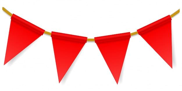 Driehoekige vlaggen op een touw Premium Vector