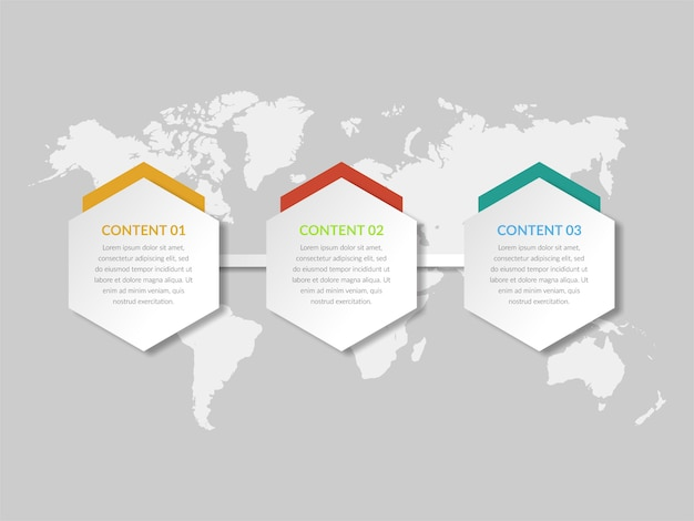 Driepunts abstracte infographic elementenvector Premium Vector