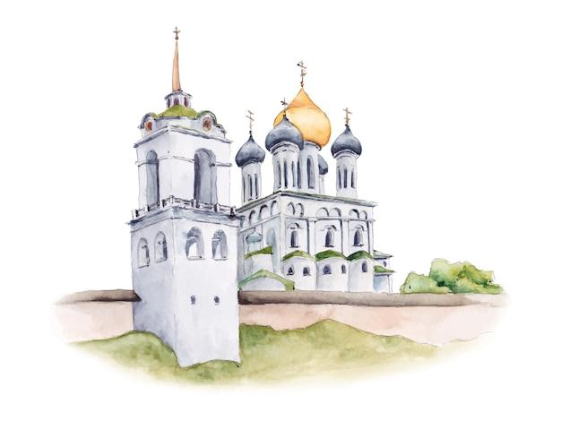 Drievuldigheidskathedraal van het kremlin van pskov, russisch-orthodoxe kerk, waterverfillustratie Premium Vector