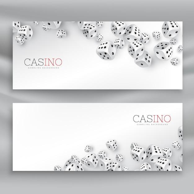 Drijvende casino dice geplaatste banners Gratis Vector