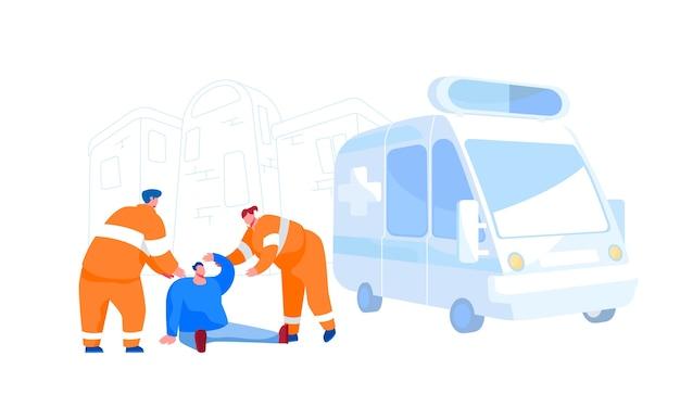 Dringende ambulancehulp, beroep van paramedicus, verkeersongeval. redders tekens dragen oranje uniform bijstaan van eerste hulp aan gewonde man zittend op de grond op straat. cartoon mensen Premium Vector