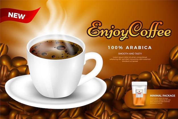 Drink advertentiesjabloon voor koffie Gratis Vector