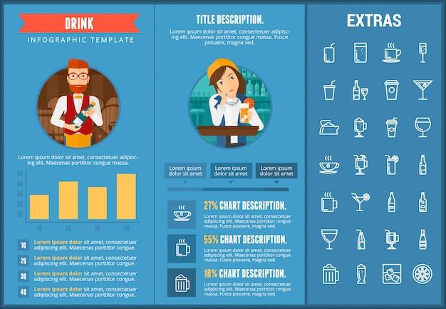 Drink infographic sjabloon, elementen en pictogrammen Premium Vector