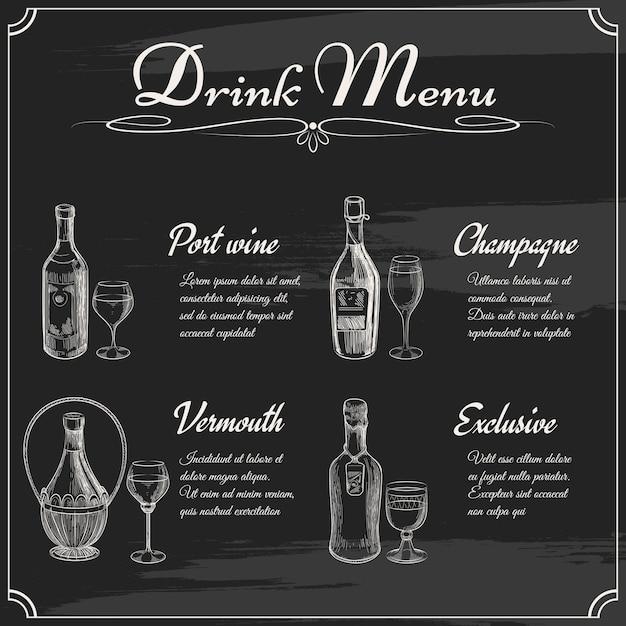 Drink menu-elementen op schoolbord. restaurant schoolbord om te tekenen. hand getekend schoolbord menu vectorillustratie Gratis Vector