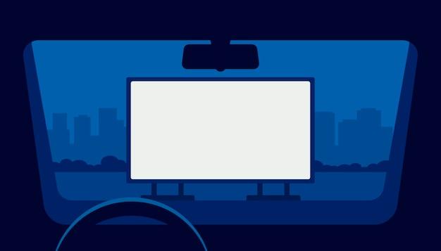 Drive bioscoop, auto bioscoop, auto theater. uitzicht vanuit raam auto in openlucht parking 's nachts. Premium Vector