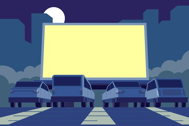 Drive-in bioscoop illustratie Premium Vector
