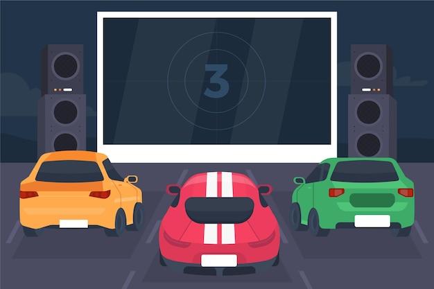 Drive-in bioscoopconcept Gratis Vector