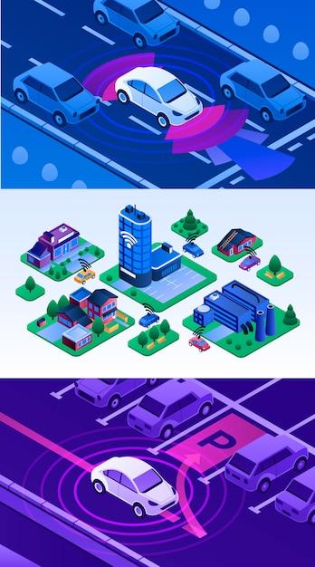 Driverless auto illustratie set. isometrische reeks van bestuurderloze auto Premium Vector