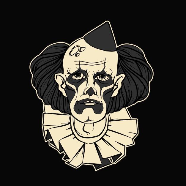 Droevige clown halloween vector illustratie Premium Vector