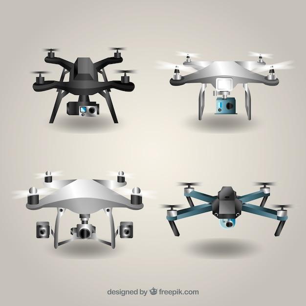 Drone-collectie met realistische stijl Gratis Vector