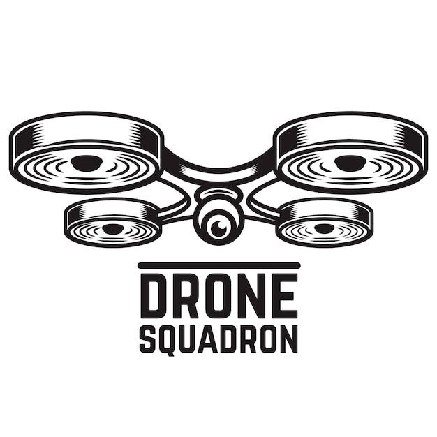 Drone illustratie op witte achtergrond. elementen voor logo, label, embleem, teken. illustratie Premium Vector