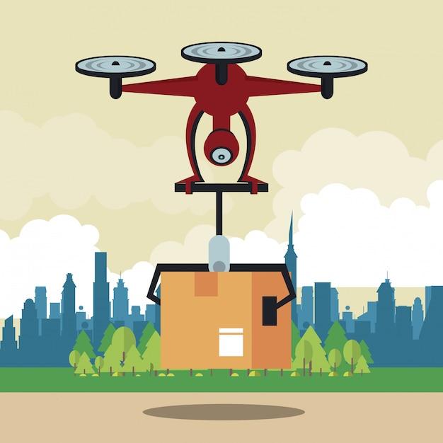 Drone levert een doos in de stad Premium Vector