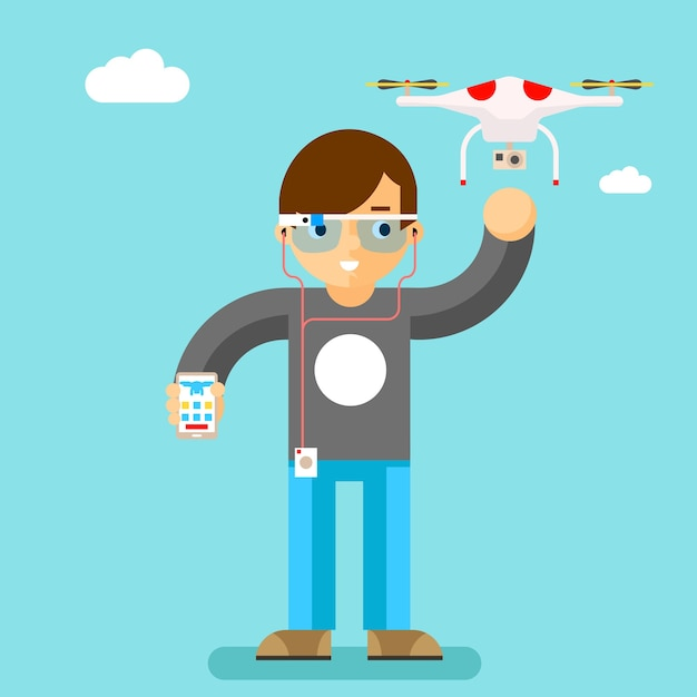Drone met actiecamera mobiele bediening. geek met slim glas. quadcopter en girovliegtuigen, brillen Gratis Vector