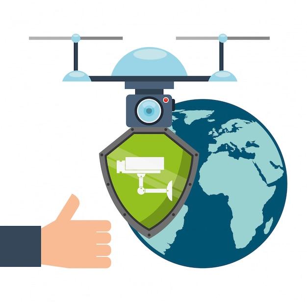 Drone technologieontwerp Gratis Vector