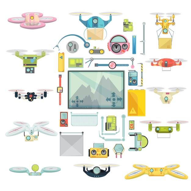 Drones group set gebruiken Gratis Vector