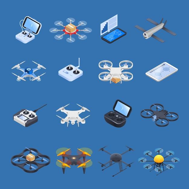 Drones isometrische pictogrammen Gratis Vector