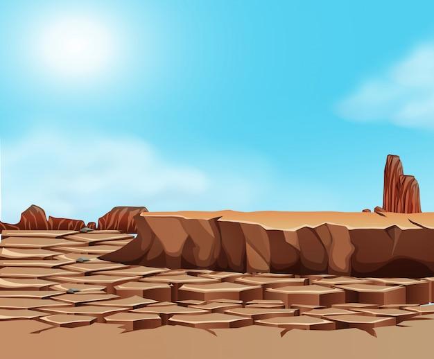 Droogte gekraakt woestijnlandschap Gratis Vector
