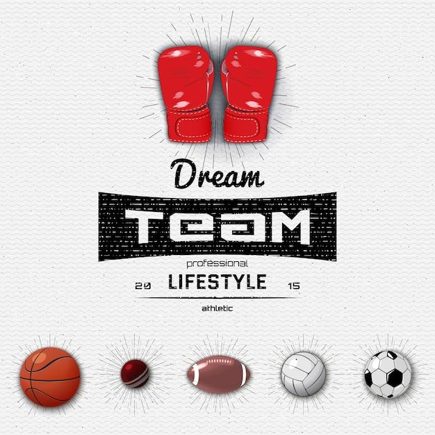Droom team insignes en labels sport Premium Vector