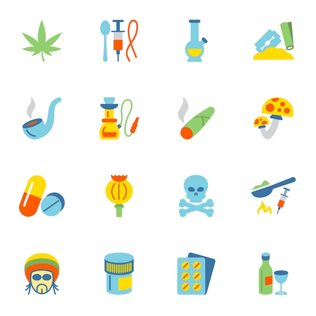 Drug iconen collectie Gratis Vector