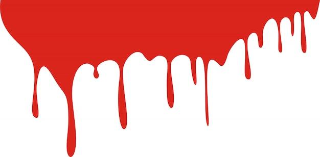 Druipend bloed dat op wit wordt geïsoleerd Premium Vector