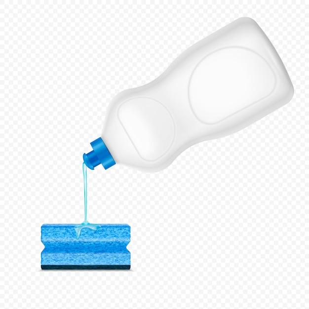 Druipend gieten wasmiddel spons realistische samenstelling op transparant met witte plastic fles afwasmiddel Gratis Vector