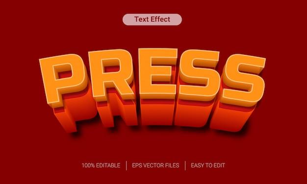 Druk op met oranje lange schaduw 3d teksteffect Premium Vector