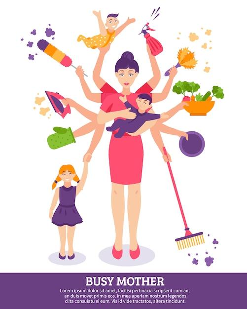 Drukke moeder concept illustratie Gratis Vector