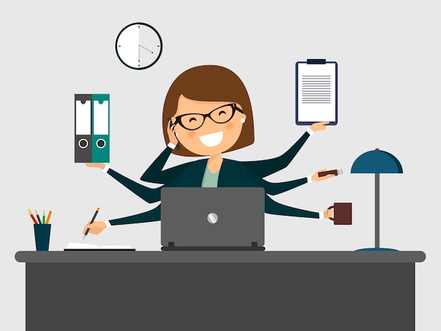 Drukke secretaresse lachend met laptop. Premium Vector
