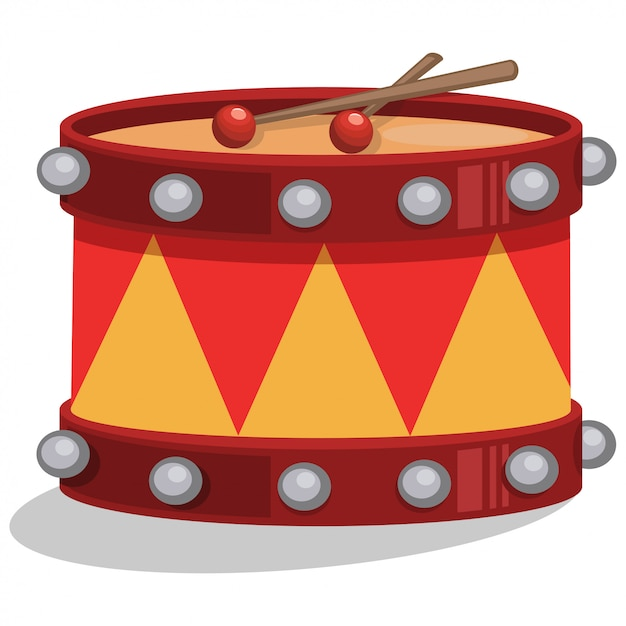 Drum met sticks cartoon geïsoleerd Premium Vector