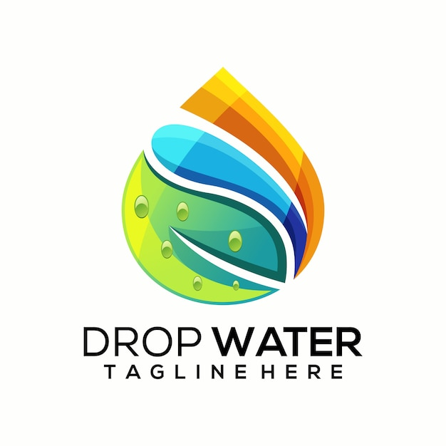 Druppel water logo vector, sjabloon Premium Vector
